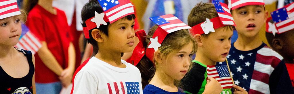 Students with American Flag Hats