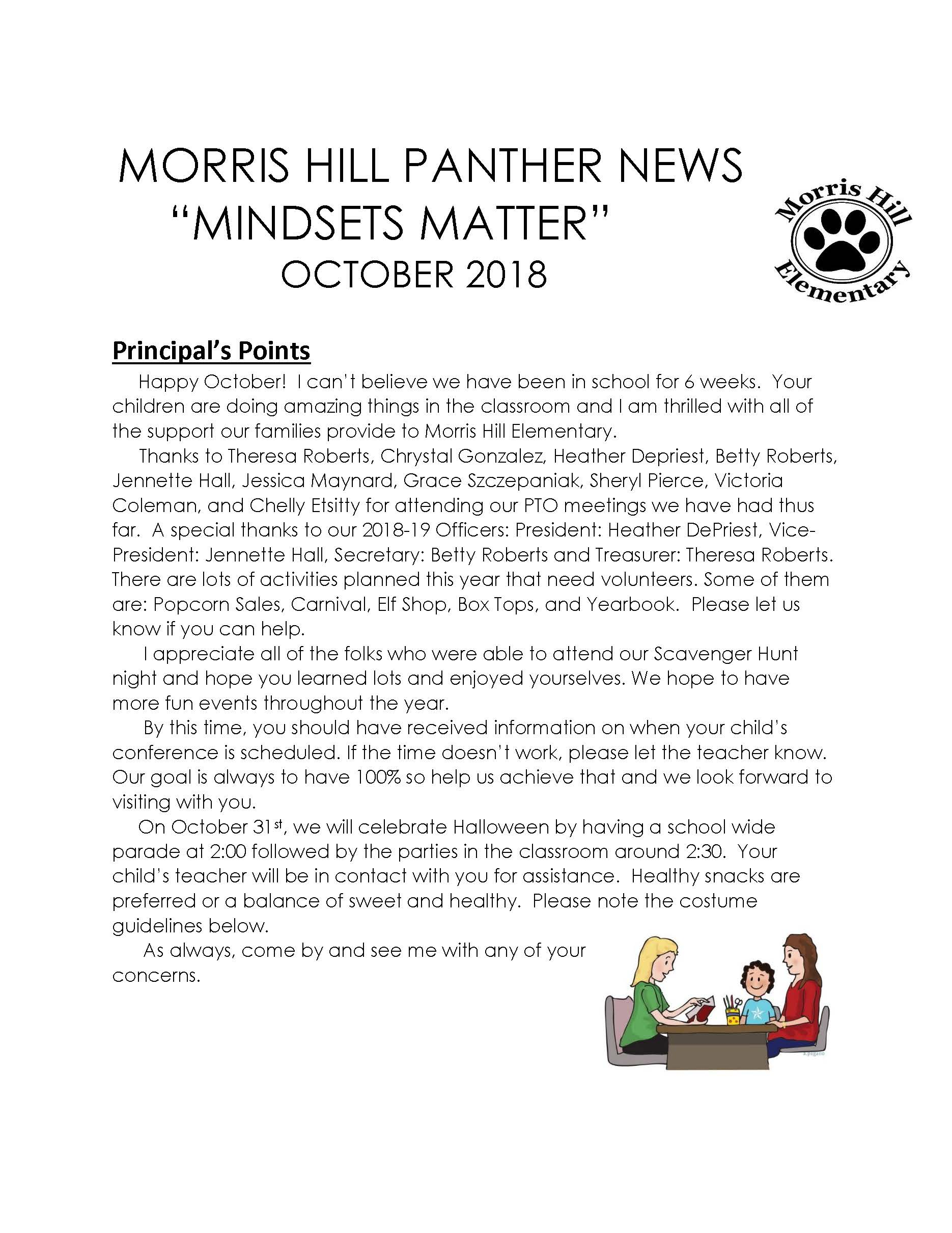 Newsletter with information from principal
