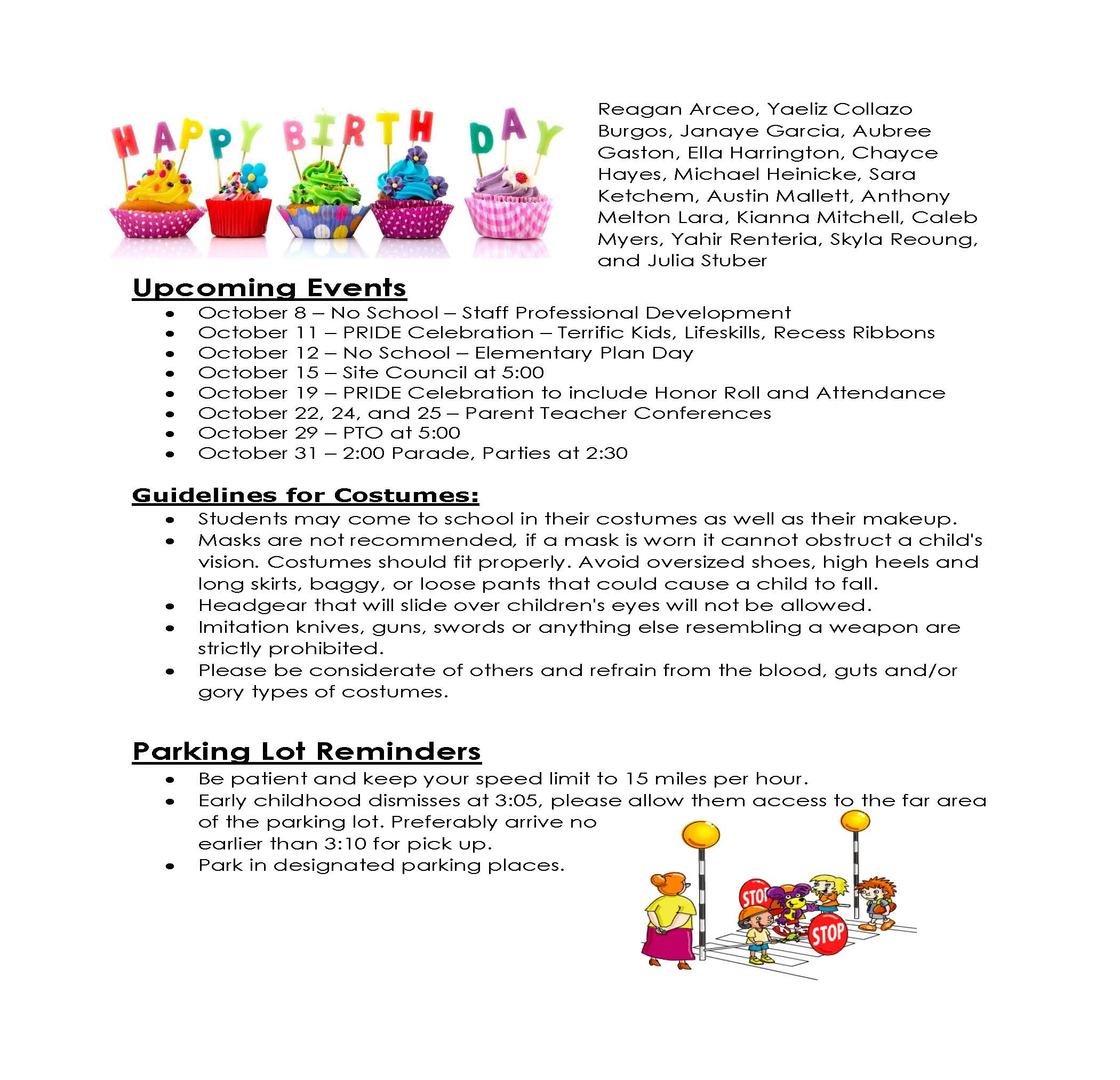 Second page of October newsletter for parents